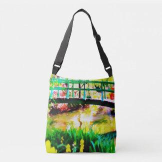 Bolsa Ajustável Saco japonês de Crossbody da aguarela do jardim de
