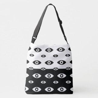 Bolsa Ajustável Saco preto e branco simples de Crossbody do olho