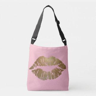 Bolsa Ajustável Sacola do rosa do beijo do brilho