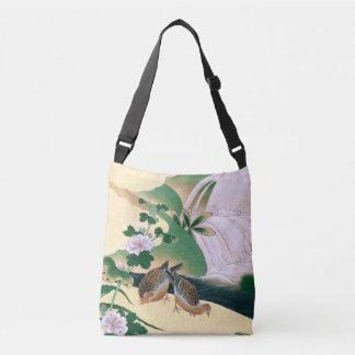 Bolsa Ajustável Sacola floral do córrego dos pássaros asiáticos da