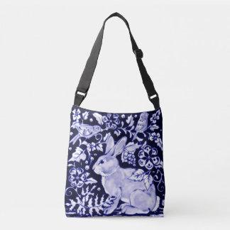 Bolsa Ajustável Sacola floral do desenhista dos pássaros azuis &