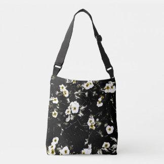 Bolsa Ajustável sacola preta das flores brancas