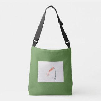 Bolsa Ajustável Sacola verde com o pássaro simples do abstrato da
