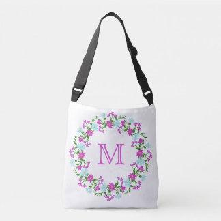 Bolsa Ajustável Seu monograma em um costume do quadro da flor