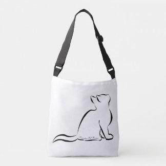 Bolsa Ajustável Silhueta do gato preto, texto interno