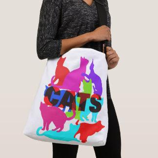 Bolsa Ajustável Temático felino colorido dos amantes do gato