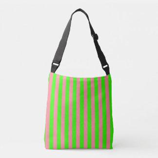 Bolsa Ajustável Teste padrão listrado cor-de-rosa e verde Coloured