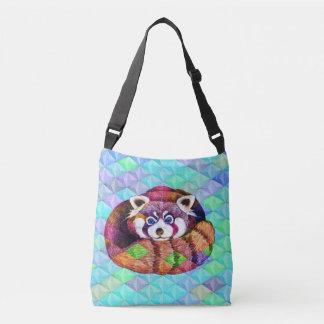 Bolsa Ajustável Urso de panda vermelha no cubism de turquesa