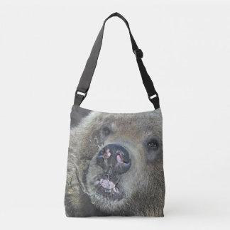 Bolsa Ajustável Urso engraçado Cub do urso que lambe a janela de