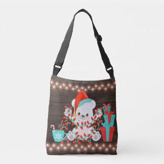 Bolsa Ajustável Urso polar pequeno bonito com luzes de Natal