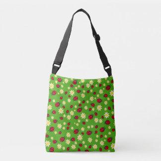 Bolsa Ajustável verde bonito do teste padrão de flor do joaninha e