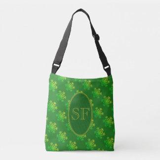 Bolsa Ajustável Verde do floco de neve e monograma festivos do