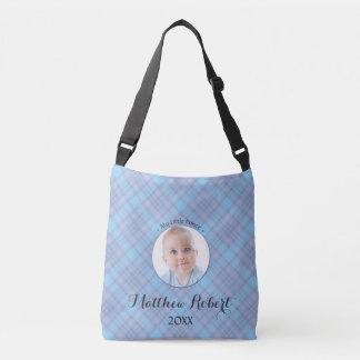 Bolsa Ajustável Xadrez pequena do azul do príncipe bebé