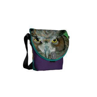 Bolsa Carteiro Coruja acrílica (roxo/turquesa)