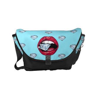 Bolsa Carteiro Diamante chique dos lábios feminino