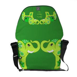 Bolsa Carteiro Elefante do Henna (verde/verde limão)