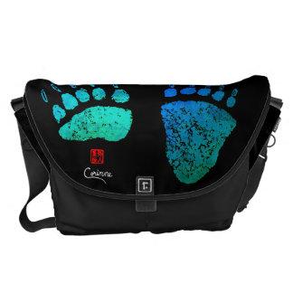 Bolsa Carteiro Patas de urso em azul/verde - a grande bolsa