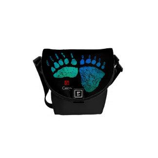 Bolsa Carteiro Patas de urso em azul/verde - a mini bolsa