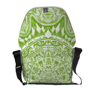 Bolsa Carteiro Teste padrão verde da mandala