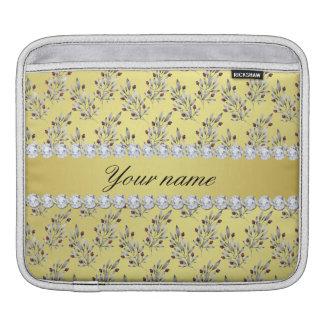 Bolsa De iPad A prata sae bagas do diamante de Bling da folha de