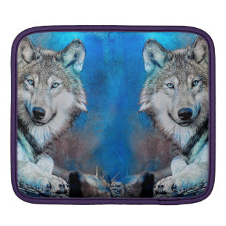 Bolsa De iPad Arte azul dos meios mistos do lobo