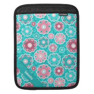 Bolsa De iPad Divertimento personalizado e rosa à moda e aqua