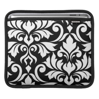 Bolsa De iPad Floresça a arte do damasco 2Way mim branco & preto