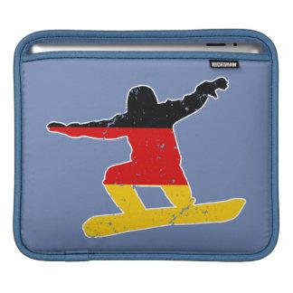 Bolsa De iPad SNOWBOARDER alemão da bandeira (branco)