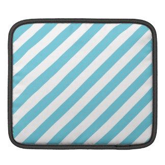 Bolsa De iPad Teste padrão diagonal azul e branco das listras