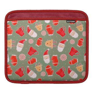 Bolsa De iPad Verde bonito do teste padrão do feriado da rena de