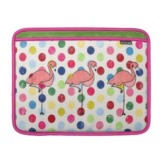 Bolsa De MacBook Air Bolinhas coloridas dos flamingos Funky bonitos