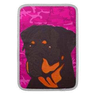 Bolsa De MacBook Air Camo cor-de-rosa com Rottweiler