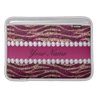 Bolsa De MacBook Air Ouro cor-de-rosa das listras da zebra da folha do