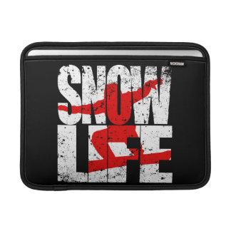 Bolsa De MacBook Air Pensionista vermelho da VIDA da NEVE (branco)