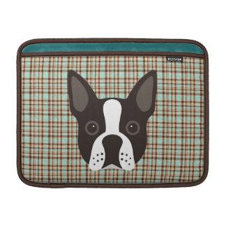 Bolsa De MacBook Air Xadrez de Tartan do cão de filhote de cachorro de