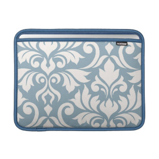 Bolsa De MacBook Arte que do damasco do Flourish eu desnato no azul