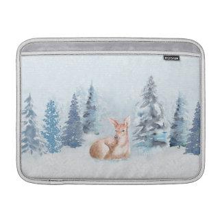 Bolsa De MacBook Cervos chiques da aguarela do inverno na floresta