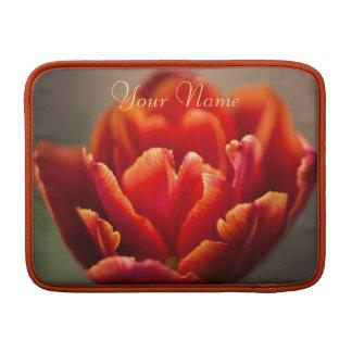 Bolsa De MacBook Foto vermelha bonito das pétalas da tulipa.