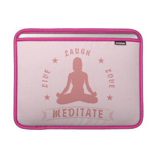 Bolsa De MacBook O amor vivo do riso Meditate texto fêmea (o rosa)