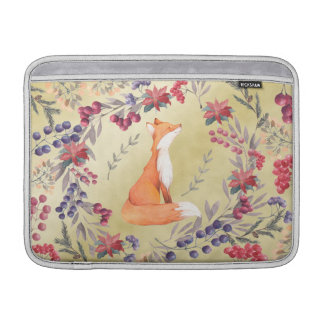 Bolsa De MacBook Ouro das bagas do inverno do Fox da aguarela