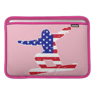 Bolsa De MacBook Stars o SNOWBOARDER das listras do ` n' (branco)