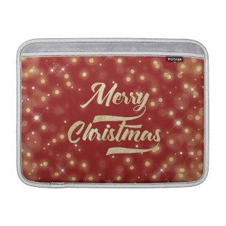 Bolsa De MacBook Vermelho do ouro de Bokeh do brilho do Feliz Natal