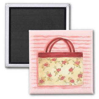 Bolsa floral - ímã ímã quadrado