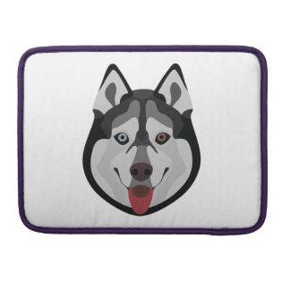 Bolsa MacBook Pro A ilustração persegue o rouco Siberian da cara