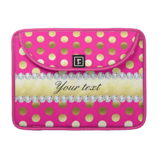 Bolsa MacBook Pro Diamantes das bolinhas da folha de ouro do rosa