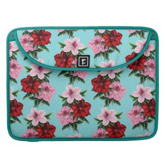 Bolsa MacBook Pro flores rosas vermelha na luz da cerceta
