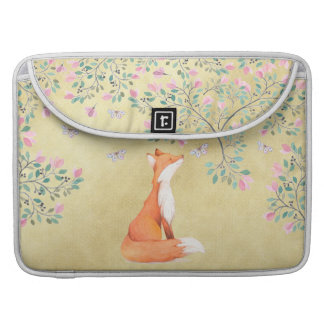 Bolsa MacBook Pro Fox com borboletas e as flores cor-de-rosa