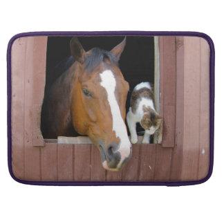 Bolsa MacBook Pro Gato e cavalo - rancho do cavalo - amantes do