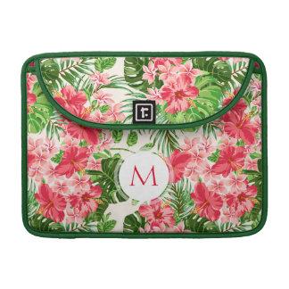 Bolsa MacBook Pro Mac tropical S do monograma da palma da flor