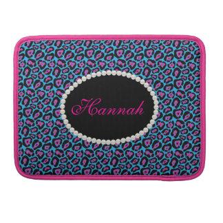 Bolsa MacBook Pro Monograma cor-de-rosa & azul chique Macbook do